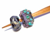 Purple and aqua Handmade glass whorl, cherry wool spindle spinning tool, whorls, spindle set, Medieval inspired bead, light weight spinning