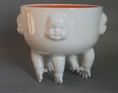 Large Standing Bowl w/Hands and Faces, ready to ship
