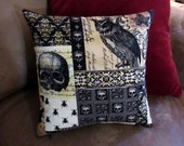 Victorian Gothic - 12x12 Pillow - with form - Nevermore fabric - Skulls - Black - Dark - Accent Pillow - Handmade - Yellow - Owl - Damask