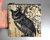 Owl - Zippered Pouch - Damask - Black - Yellow - Purple - Large - Change Purse - Zippered Case - Gothic - Dark - Bird cage - Leaf
