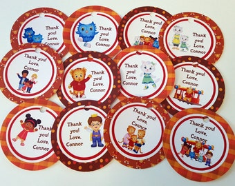 Daniel Tiger, Daniel Tiger's Neighborhood theme thank you tags, favor tags, gift tags - set of 24