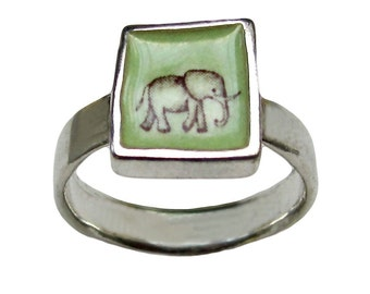 Elephant Ring - Sterling Silver and Vitreous Enamel with Original Elephant Drawing