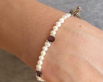 Pearl Gemstone Bracelet Garnet Pearl Bracelet Pearl Silver Toggle Bracelet Pink Garnet January Birthday Bridal Gemstone