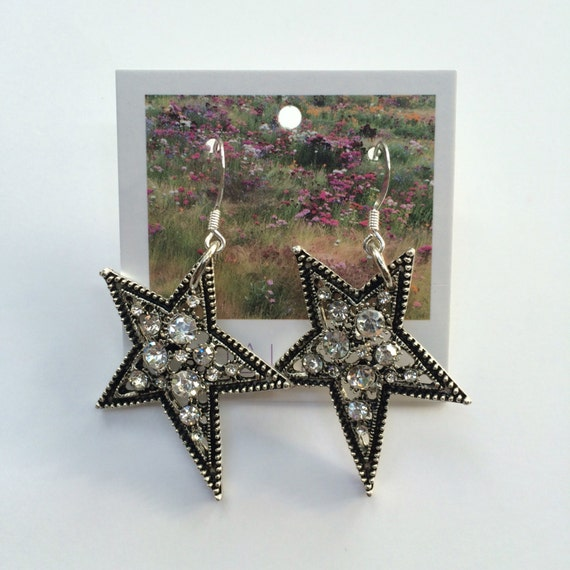 Rhinestone Falling Star Art Deco Earrings - perfect for bridemaids