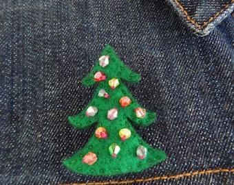 Wool Felt Flower Brooch - Christmas Tree