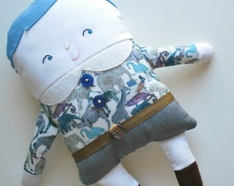 Blue Hair Two-Faced Friend Flip Boy Doll Dressed in Liberty Of London Fabrics