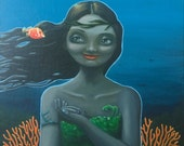 RESERVED - Ocean Lady Portrait - The Mer-lady and Two Friends - original 16 x 12 acrylic portrait