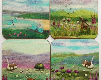 Scottish Coasters Set of Four Printed with Felt Art Designs