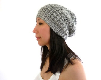 LouLou Knit Lace Slouch / Slouchy Hat. Fog Gray / Grey. Wool Alpaca Mix. Soft and Rustic. Boho Style. Fall / Winter.
