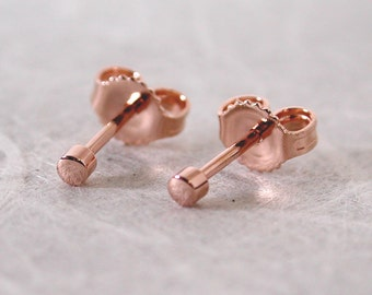 Itty Bitty Very Tiny Studs 2mm Rose Gold Stud Earrings 14k Rose Gold Dot Stud Earrings by Susan Sarantos