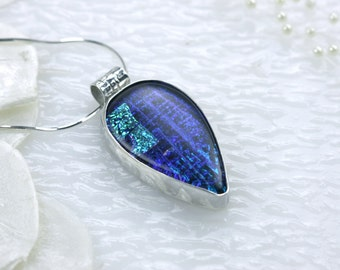 Teardrop Sterling Silver Dichoric Glass Pendant Necklace, GetGlassy
