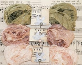 Crinkled Ribbon , Seam Binding , New Color Set , FERN , 18 Yards , Light Olive Green Ribbon , Beiges , Rosy beige , Bluebird Lane