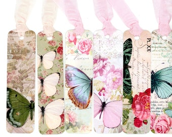Bookmarks , Beautiful Butterflies Theme , Set of Six , Aqua , Pink Butterflies , Green , Vintage Style Bookmarks , Flower Bookmarks , Roses