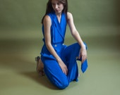 royal blue silk wrap dress / wrap midi sleeveless dress / simple colorblock dress / s / 2005d / B7