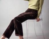 see ryder brown crushed velvet trousers / high waist pants / velvet pants / s / 1287t