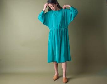 FLORA KUNG seagreen silk midi dress / silk slouch dress / batwing sleeve dress / s / 1749d