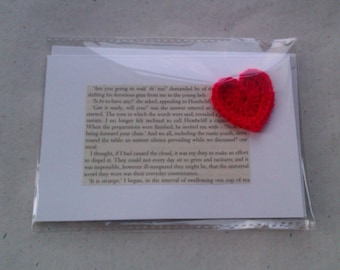 Wuthering Heights Literary Greeting Card - red sparkly heart and tea