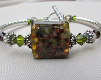 Silver Mocha Lampwork Bangle Bracelet