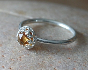 NEW Citrine Rose Cut Stacking Ring 6 mm Sterling Silver Ring Princess Crown Ring, November Birthstone Ring, Size 2-15, Womens Gallery Ring