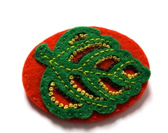LEAF felt brooch pin with freeform embroidery