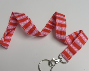 Sample Sale - Ready to Ship - LANYARD ID BADGE Key Holder - Red Pink Stripes and White Dots Fabric