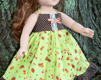 """American handmade 18"""" girl doll dress, fall doll dress, brown green forest critters dress, one of a kind doll dress, ruffled doll dress"""