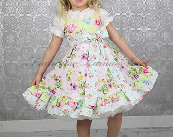 Easter dress, Birthday dress, wedding Flower Girl, pink green blue spring dress, ruffled Twirl Dress, romantic dress