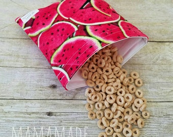 Watermelon - Medium Reusable Sandwich Bag from green by mamamade