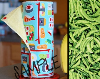 Unpaper Towel | Reusable Paper Towels - Peas (0339604) Tree Saver Towel | Kitchen Towel | Snapping Cloth Paperless Towel & Wet Bag