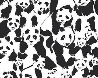 Panda Pandalicious Fabric by Katarina Roccella for Art Gallery Fabrics AGF - Black and White - Pandalings Pod Assured - One Yard Fabric