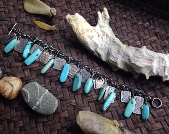 Sterling Tapa Tablet Charm Bracelet