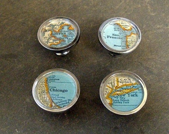 Vintage Map Drawer Pulls 4  Custom Cities Home Decor House Warming Cabinet Knobs set of 4 on Sale