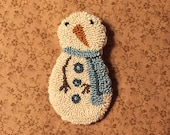 Primitive Needle Punch Pin Buttons Snowman