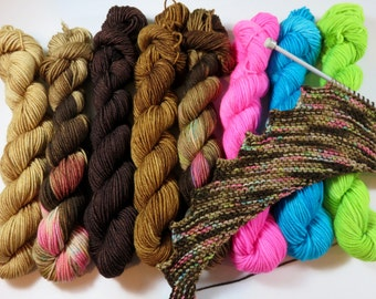 August Sale 15% Off -- Hand Dyed SW Merino Nylon 4-Ply Sock Mini Skeins (20grams/92yds each)  -- Coffee and Donuts Coordinating Colorways