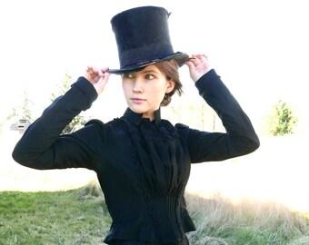 Victorian Black Bodice Blouse Size XS