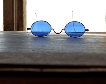 Antique Victorian Era Cobalt Blue Spectacles