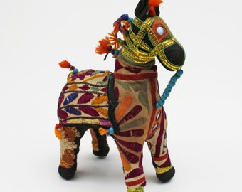 Embroidered Malani Horse. Folk Art Home Accent