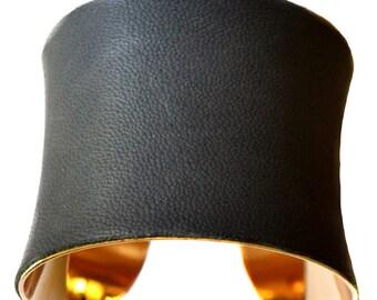 Dark Asphalt Grey Lambskin Leather Gold Cuff Bracelet - by UNEARTHED