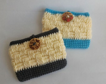 Crochet card holder with loop-Grey and blue