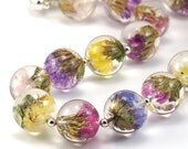 Multicolour Flowers Resin Nacklace, Resin Sphere Necklace, Silver Resin Jewelry, Botanical Necklace, Real Flowers Jewelry
