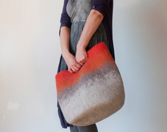 MEDIUM SIZED Rusty Orange Ombre Sturdy Everyday Art Bag / Tote / Basket / Shopping / Market / Picnic / Hand felted wool / Wearable Art