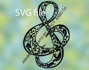 SVG Floral Musical Clef Sign Digital Download DIY to Cut Template