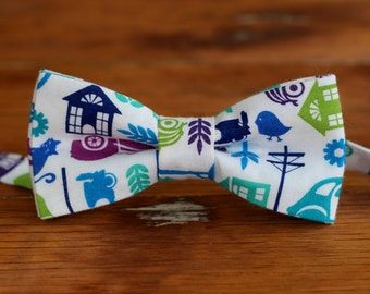 Boys Cotton Bow Tie - blue green purple city scene bow ties for baby, infant, toddler, child - unique cotton bowtie - bow tie gift for boy