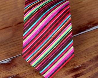 Boys Striped Necktie - boy's pink, brown, yellow, blue stripes neck tie - pre-tied necktie - Baby Infant Toddler Child Preteen - birthday