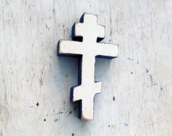 Reclaimed Wood Cross, Distressed Byzantine Cross, Greek Cross, Russian Cross, Ukranian Cross,  Wooden Wall Cross, White Cross