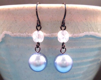 Pearl Earrings, Blue and White Glass Beaded, Gunmetal Silver Dangle Earrings, FREE Shipping U.S.