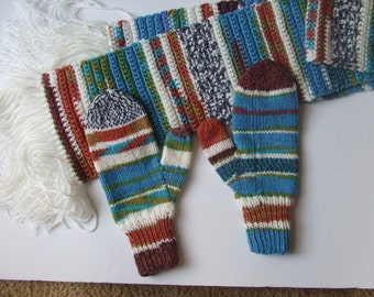 Hand Knit Mittens & Scarf Set - All Mixed Up!  - for Ladies/Teens