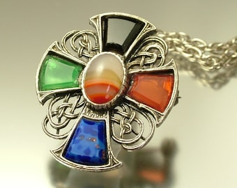 Vintage/ estate 1950s Miracle style, agate glass and silver tone, Celtic cross pendant / brooch pin and chain -  costume jewelry