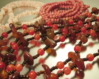 Vintage job lot of old bead necklaces - agate, shell, glass - jewellery jewellery, bargain sale, crafting vintage beads
