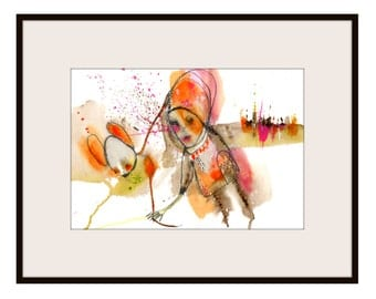 """ORIGINAL Collage Drawing, Abstract Portrait,  Acrylic, Watercolor- Illustration Art  by Christina Romeo......""""I Want Someone Better Than Me"""""""